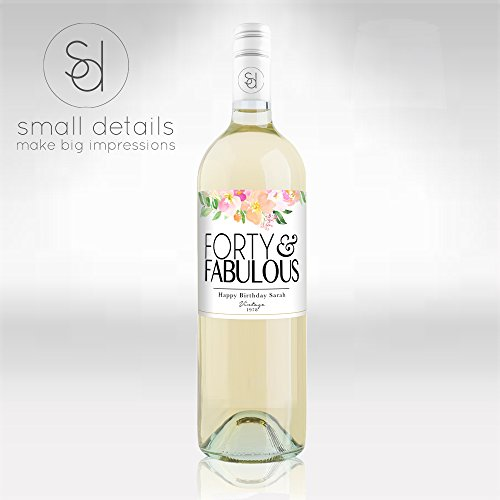 Forty & Fabulous Watercolor Flower Themed Birthday Wine bottle labels - Unique 40th Birthday Gift or Party decor- (Watercolor Wine)