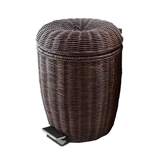 Rattan Woven Trash can, Foot Pedal bin Creative Retro Waste Basket Bin for Kitchen Bathroom Toilet Office-Brown 12L (Bin 12l Pedal)