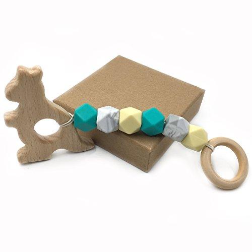 Amyster Baby Teether canguro de madera de encargo orgánicos Juegue el juguete del gimnasio Juguetes de la dentición del...