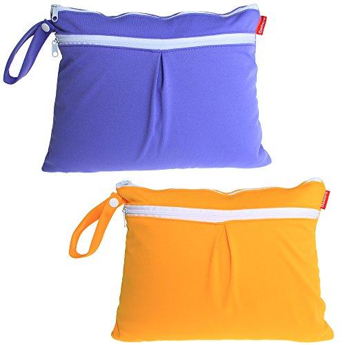 pequeña Del Bolsa Pack Bebé Pañal Recorrido Seco Tela De Húmedo Púrpura amarillo Chevron Linda azul 2pcs Damero Organizador Y verde w6RfR