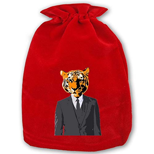 Red Velvet Bags with Drawstring - Tiger Businessman Christmas Present Holiday Decor Party Favor Pouch Bags