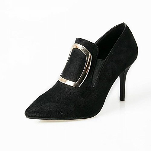 with Shoes Fine Suede Deep Shoes Single Heels All Fashion Breathable High EUR35 Deep black Ultra Match Pointed x0nqwTqBg