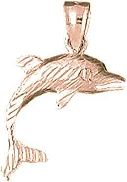 Jewels Obsession Dolphin Necklace 14K Rose Gold-plated 925 Silver Dolphin Pendant with 18 Necklace