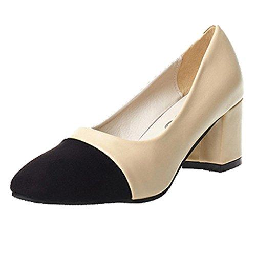 ホット販売、aimtoppy夏レディースファッションエレガントなハイヒールポインテッド靴カジュアルシューズウェディング靴レディース US:5 ベージュ AIMTOPPY