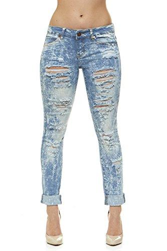 V.I.P.JEANS Ripped Splattered Jeans for Women Skinny Leg Plus Size 20 Acid Bleach (Bleach Denim)