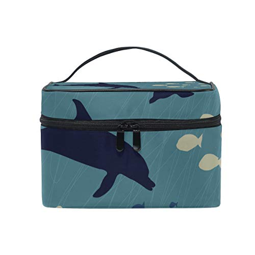 Makeup Cosmetic Bag Whale Dolphin Fish Seaworld Portable Storage with Zipper ()