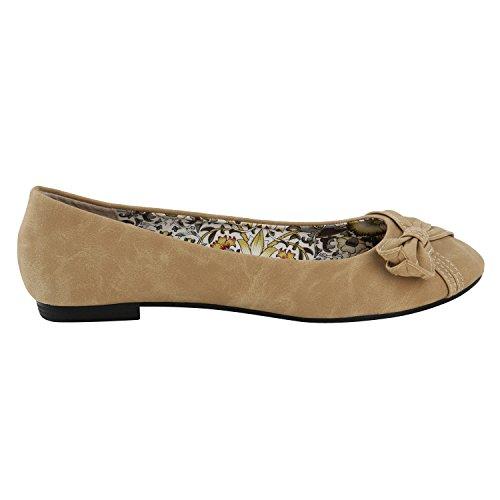 Stiefelparadies Klassische Damen Ballerinas Strass Leder-Optik Schuhe Elegante Slipper Slip On Flats Glitzer Übergrößen Abiball Flandell Hellbraun Muster