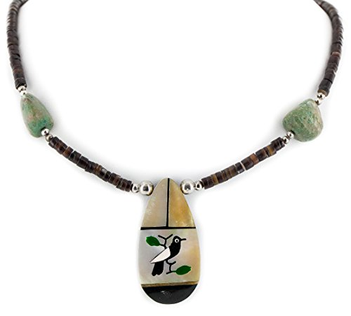 Certified Authentic Bird Inlay Navajo .925 Sterling Silver Natural Turquoise Mother of Pearl Heishi Native American Necklace