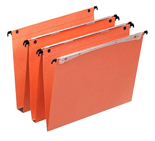 Esselte Dual Vertical Suspension Files, A4, V-Base, Pack of 25 Connectable Files, Tabs Included, Orange, Orgarex Range, 21631