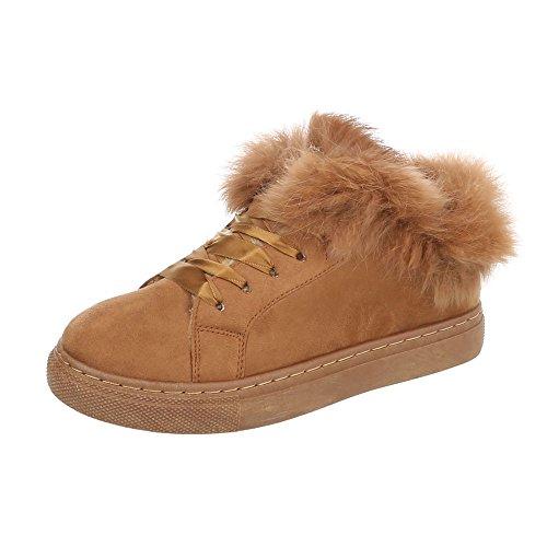 Ital-Design Sneakers Low Damenschuhe Sneakers Low Warm Gefütterte Schnürsenkel Freizeitschuhe Camel