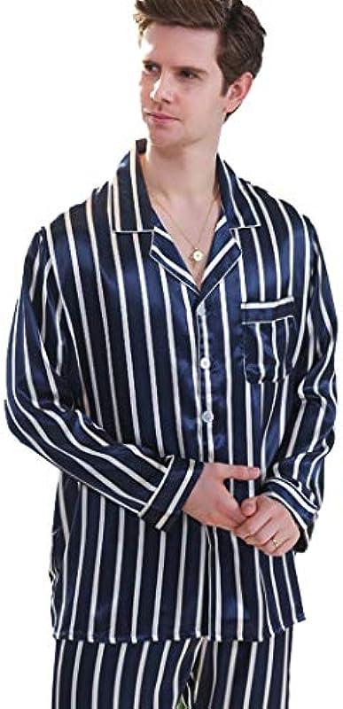 HQ-PJS piżama gÓrne spodnie wiosna jesienno-mężczyźni symulacja jedwabiu w paski kobiety z długim rękawem nadruk Thin Section Home Service garnitur (kolor: niebieski, rozmiar: XL): Küch