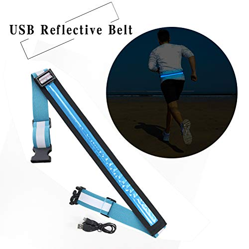 MORLIGHT LED Reflective Belt USB Rechargeable Adjustable and Elastic Band with Lightweight Plastic Buckle, High Visibility Gear for Running, Walking & Cycling, Fits Women, Men & Kids