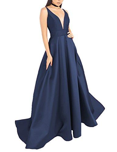Stillluxury para Sin mujer azul ajustado marino Vestido mangas rIarw
