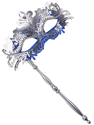 FunPa Stick Mask Metal Party Mask Laser Cut Crystals Ball Princess Venetian Mask Masquerade Mask (Silver and -