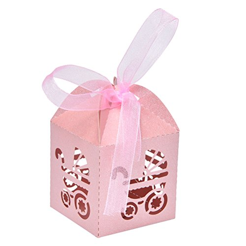 50pcs Laser Cut Baby Carriage Favor Box Bomboniere Gift Candy Boxes Baby Shower Party Decoration, Pink