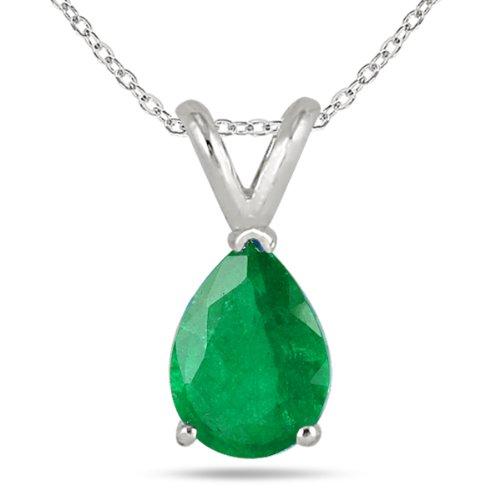 6x4mm Pear Shape Emerald Pendant in 14k White Gold