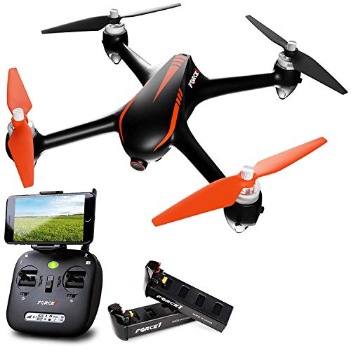 Force1 Drones with Camera and GPS - B2W Shadow MJX Bugs 2 Long Range Drone for Adults and Kids w/ 1080P HD Camera, Auto Return and Extra Battery