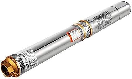 VEVOR Bomba Sumergible para Pozos Profundos 220 V 0,55 KW / 0,75 HP, Bomba de Agua para Pozos de Acero Inoxidable con Cable de 10 m Altura 80 m, Bomba de Agua para Pozos con Caja de Control 2850 RPM