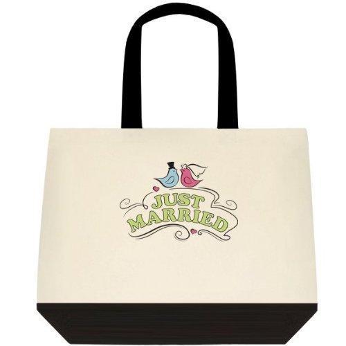 Just Married Love Birds Wedding Bride Tote Bag
