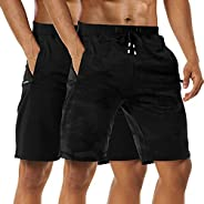 Boyzn Men's 1 or 2 Pack Casual Shorts Comfortable Cotton Workout Shorts Elastic Waist Running Shorts with