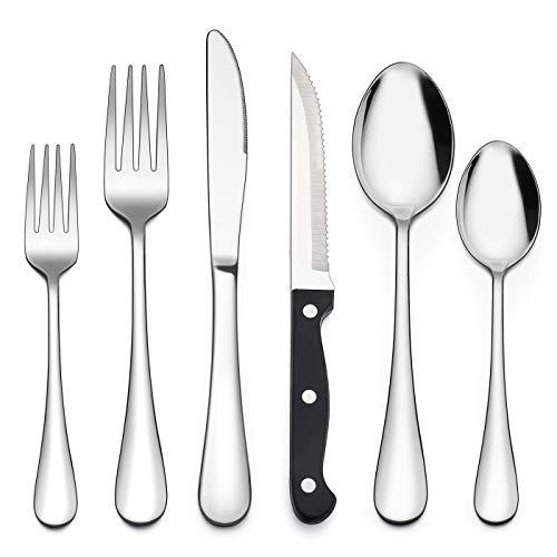 LIANYU 48-Piece Silverware Set with Steak Knives, Stainless Steel Flatware Cutlery Set for 8, Fancy Eating Utensils…