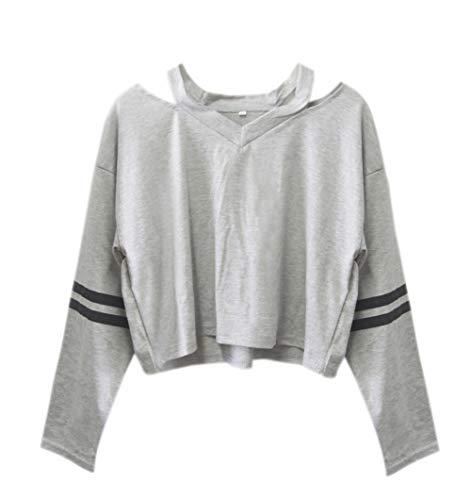 Tops Longues Hauts Chemisiers Blouse Automne Mode Court Col Jumpers Sweat Shirts Tee Gris Raye V Printemps T pissure Manches Shirt Femmes TqYBwntH8