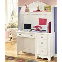 2PC White Youth Bedroom Desk and Hutch Set