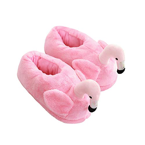 14655069a1d3 Pink Flamingo Slippers Heel Cover Winter Warm Plush Animal Slippers for  Women