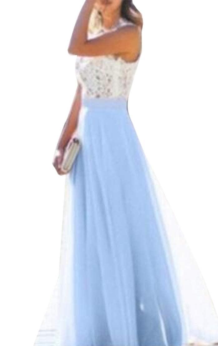GRMO Women Summer Lace Stitch Chiffon Sleeveless Evening Party Maxi Dress