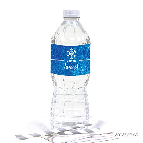 (Andaz Press Birthday Water Bottle Labels Stickers, Frozen Snowflake, 20-Pack, For Decor Decorations Dessert Table)