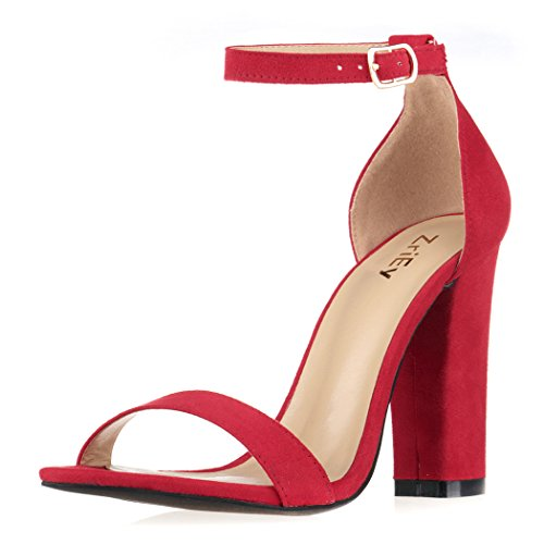 Red Strappy High Heel - ZriEy Women's Chunky Block Strappy High Heel Pump Sandals Fashion Ankle Strap Open Toe Shoes