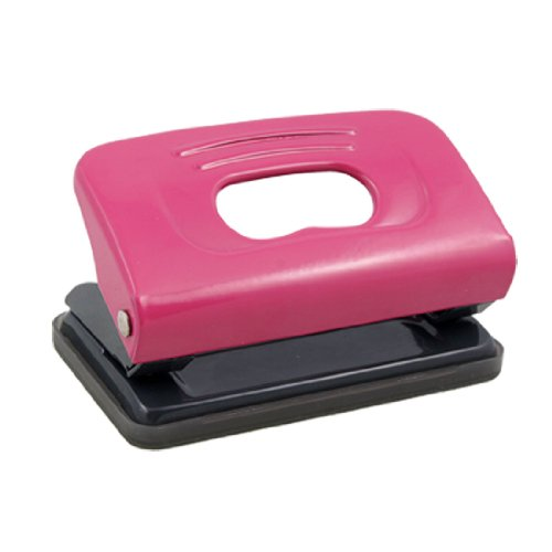Metal Small 2 Holes Paper Punch Stationery, Fuchsia Gray