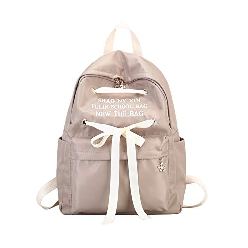 Trendy Ribbon Design Canvas Zipper Backpack Female Candy Color School Bags For Teenage Girls Bow Travel Rucksack,1240A