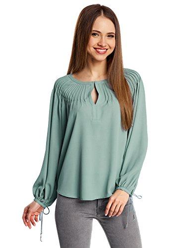 oodji Collection Mujer Blusa Ancha con Lazos en los Puños Verde (6C00N)