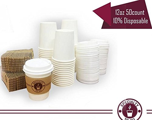 BONPLAND Disposable Coffee Cups With Lids And Sleeves Included To Go  Insulated Durable Paper Cups To Take And Toss. Great For Hot Drinks, Tea, Cocoa 12oz- Set Of 50 Count White