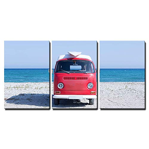 Front View of a Red and White Classic Van with a Surfboard on The Top on The Beach x3 Panels