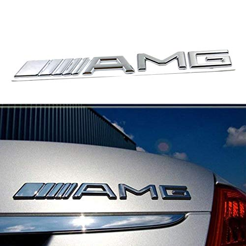 XYGGOO New Style 3D Chrome AMG Back Trunk Tailgate Emblem Decal Badge Nameplate Logo Car Sticker Badge Decoration for Mercedes-Benz (Silver)