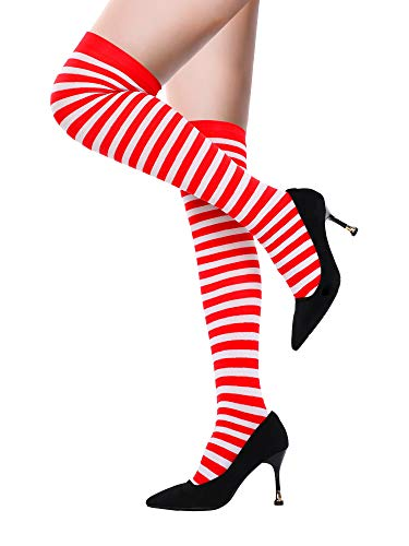 899d89584 Sumind Women s Long Striped Socks Over Knee Thigh High Stockings for  Christmas (Color Set 2
