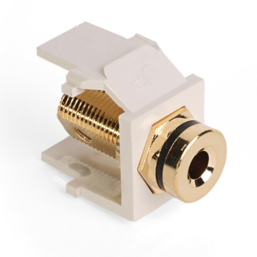 - Leviton 40837-BTE QuickPort Banana Jack Adapter, Gold-Plated with Black Stripe, Light Almond