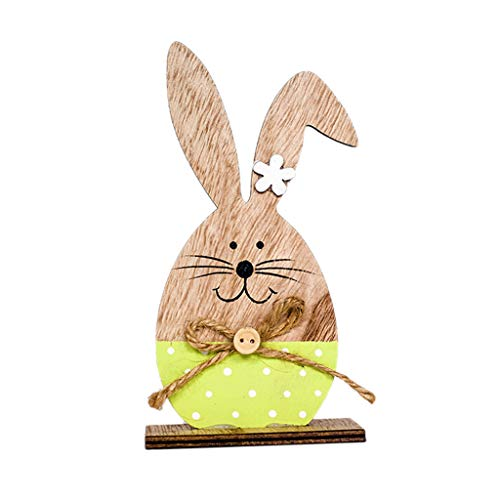 OrchidAmor Easter Decorations Wooden Rabbit Shapes Ornaments Craft Gifts ()