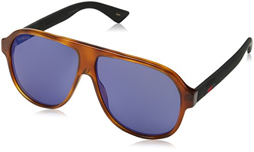 Gucci Men GG0009S 59 Tortoise/Blue Sunglasses - Gucci Shades Men