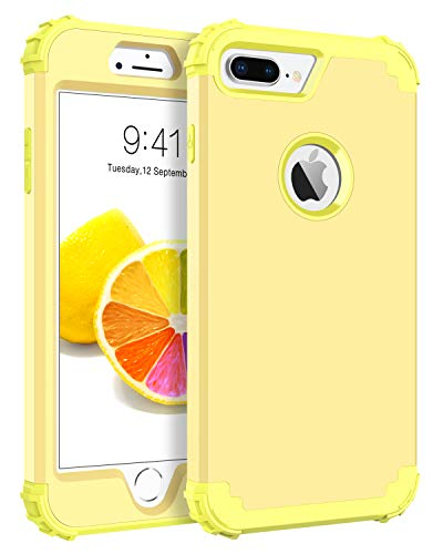 (BENTOBEN Case for iPhone 8 Plus/iPhone 7 Plus, 3 in 1 Hybrid Hard PC Soft Rubber Heavy Duty Rugged Bumper Shockproof Anti Slip Full-Body Protective Phone Cover for iPhone 8 Plus/7 Plus, Yellow Lemon )