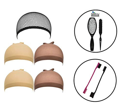 IGS 5 pack Wig Caps Black Mesh Cap, Beige Wig Cap, Light Brown Wig Cap (Including Brittny Professionals Wig Brush Combo & 2 pc Double Sided Edge Control Brush Set)