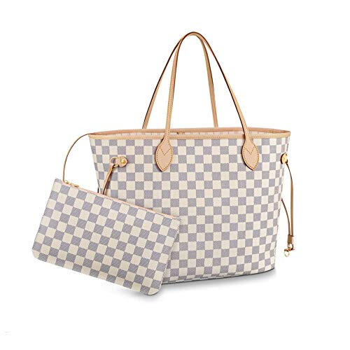 Women's Classic Canvas Neverfull Top-Handle Tote Bag Large Capacity Haute Couture Shoulder Bag (MM 32CM, Damier Azure Inside Beige) ()