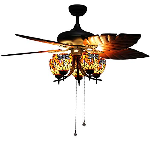 Makenier Vintage Tiffany Style Stained Glass 5-light Dragonfly Uplight Ceiling Fan Light Kit, with Banana Leaf Shaped Blades ()