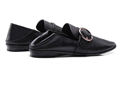 Casual Chaussures Square Loose Printemps Round Shoes Femme Avec Buckle Zfnyy Et Bas Automne Flat Wild xqYwOSST