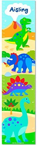 Olive Kids Personalized Dinosaurland Canvas Growth Chart (Personalized Dinosaur Growth Chart)