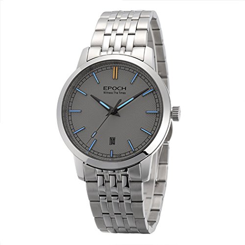 EPOCH 6026G A Style Water Resistant 50M T25 Tritium Luminous Mens Dress Ultrathin Automatic Self-Wind Mechanical Wrist Watch (White dial Blue Luminous)