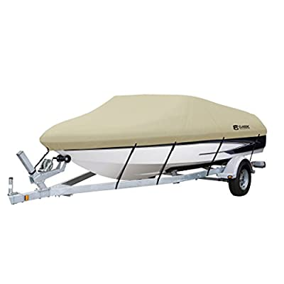Classic Accessories DryGuard Waterproof Boat Cover - Trailerable Boat Cover with Bow, Windshield and Stern Reinforcement Panels (Tan)