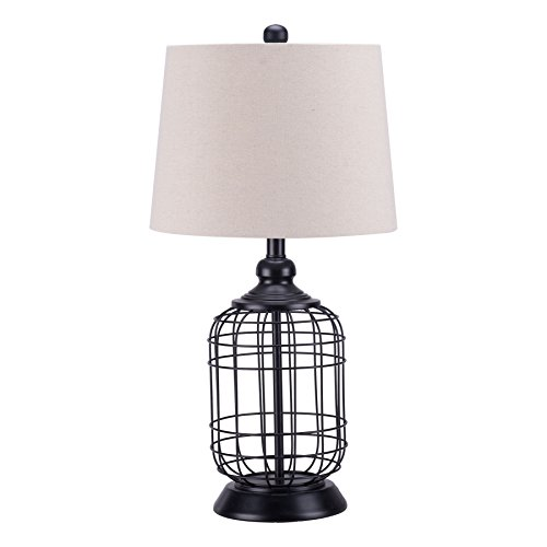 CO-Z Modern Black Birdcage Base Table Lamp, Industrial Anti-Rust Metal Base, Mid Century Oatmeal Linen Shade, Retro, 25.5 Inches Height for Entryway Table, Living Room Bedroom Bedside (Black)
